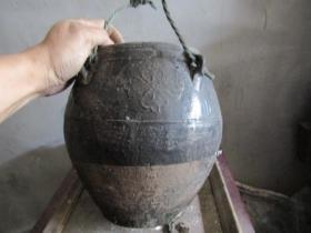 梅花图黑釉四系罐