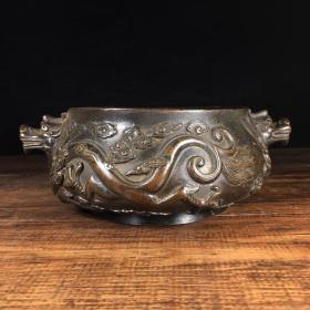 铜龙纹耳香炉
