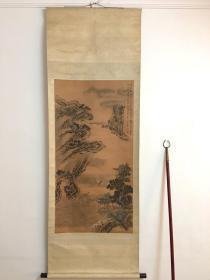 湖北省著名工笔画家-周伯昌-七十年代绢本《浔阳风帆图》