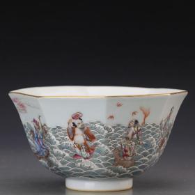 宋代官窑乾隆粉彩八仙过海八方碗瓷器