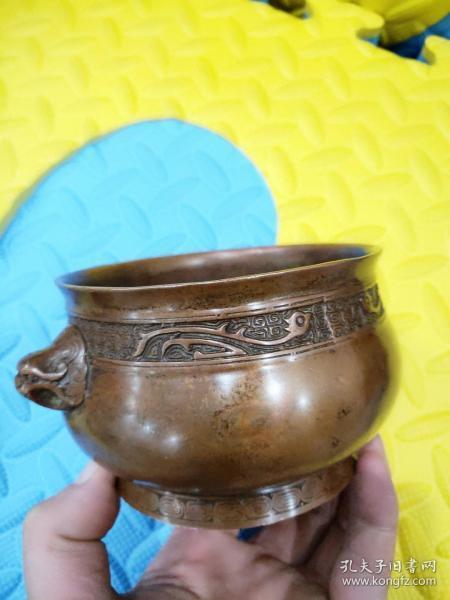 大明宣德铜香炉,纯铜的,低价-狮子耳--低价-出!