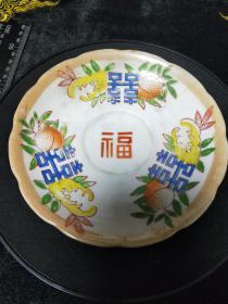 描金老瓷盘,手绘瓜果喜字盘,民间收藏