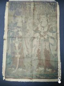 古旧绢画工笔重彩《二菩萨图》
