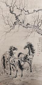 徐悲鴻-三駿圖立軸- 微噴復制品