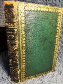 1821年 PLUTARCH'S LIVES 卷五  普鲁塔克 《希腊罗马名人传》 LANGHORNE  烫金全皮装帧 三面书口刷金  含一副藏书票16.6X10CM