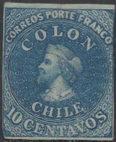 智利邮票ZB,1854年哥伦布发现美洲大陆,地理大发现,10c,罕见