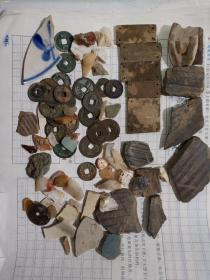 乱七八糟一堆,古钱币,古代石器刮削器,古陶瓷片,瓷片,包邮,售出不退。