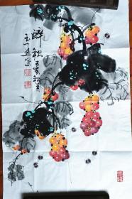 【保真】知名书法家梁玉通画作:醉秋