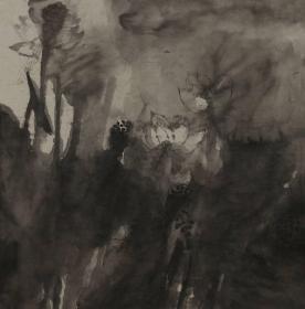 【展览作品 永久保真】北京画院画家 刘瑞星 四尺斗方水墨写意荷花
