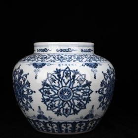 明宣德青花轮花纹罐 古玩200102花瓶古董古瓷器藏品规格;厘米31*38