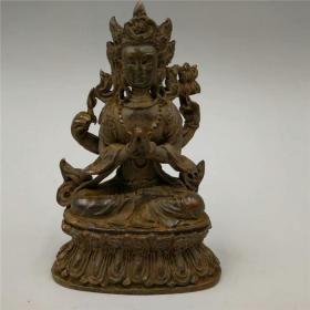 铜器铜佛像摆件高9厘米