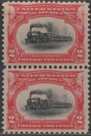 美国邮票B,1901年泛美博览会,行驶的火车,交通工具,一枚价