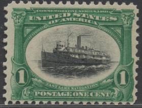 美国邮票B,1901年泛美博览会,五大湖中航行的汽轮船,交通工具