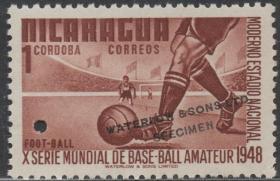 尼加拉瓜邮票 ,1948年足球,体育运动,华德路公司试色印样