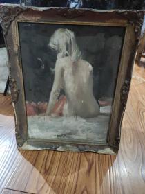 实木框老油画