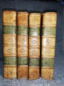 1811年  The Dramatic Works of Ben Jonson,  and  Beaumont and Fletcher  4本全 精美竹节书脊  全牛皮装帧  三面书口花纹 24.2X15.5CM  重5KG