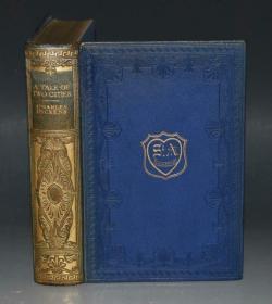 1925年Carles Dickens:A Tale of Two Cities  狄更斯《双城记》名家韦尔莱特彩绘本初版本 全摩洛哥羊皮豪华装桢 大开本品佳 精美彩色插图
