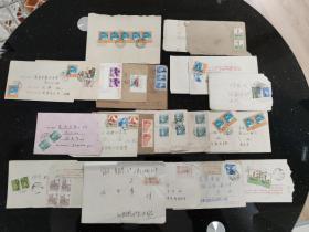 信封、封片简、实寄封: 80-90年代的老信封   有航空件1封和挂号信函5封   有邮票和邮戳   2封内有信件   23封合售    信封0069