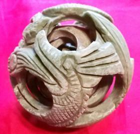旧石制品摆设品 内五层旋转子透雕刻盘龙青石吉祥摆件保真品工艺品