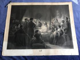 1858年巨型钢版画《韦伯斯特在马什菲尔德的最后几天》—美国画家约瑟夫·艾姆斯(Joseph Emes,1816 - 1872年)作品 96.7*76.1厘米