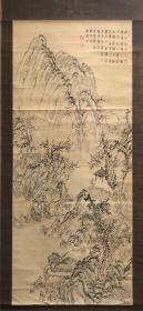 日本回流,至迟民国时期老画,大幅文人山水中堂 纸本纸裱,画心53.8*147,装裱有破损,木质轴头,值得收藏本交易仅支持自提、邮寄