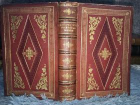 1859年 THE POETICAL WORKS FO H. W. LONGFELLOW  双面烫金全皮装帧  三面刷金  插图版  17X11CM