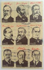 【美国邮票】《历任总统》九方联信销
