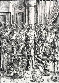 """""""巨幅丢勒名画""""1910年复刻版""""丢勒Albrecht Dürer大受难""""系列木刻版画—《鞭挞基督》48x34cm 原尺寸复刻"""