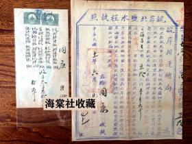 民国11年安徽合肥盐运护照执照带盖销长城图税票2枚2张一套