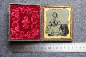 清代玻璃版安布罗夫法照片-- 上色精美的漂亮年轻女人肖像,影像历史级收藏,已经快170年了