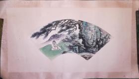 约民国时期山水人物扇面,学宋人的画工一流!在绫上画的保老保真!