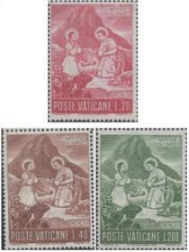 梵蒂冈市国邮票ZG,1965年圣诞节,宗教绘画耶稣诞生,雕刻版 3全