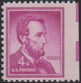 美国邮票,1954年林肯总统,美国国父、世界名人,漏齿错变体