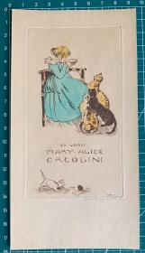 美国早期铜版酸刻精品藏书票女孩和猫