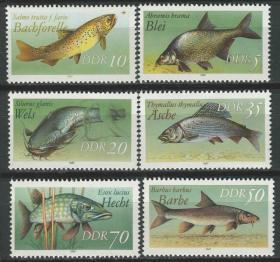 德国邮票 东德 1987年 淡水鱼  6全新