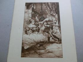 【百元包邮】《天使诱惑》系列之16  1932年单色石版版画 法国著名插图画家 Cheri Herouard 作品 尺寸26*19.7厘米
