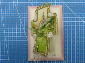 1910年美国(十字架教堂)镂空、凸版、新年祝福、翻页折叠式--手写贺卡明信片(4)