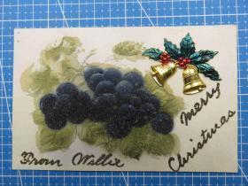 1910年左右美国(葡萄和金属铃铛)镶嵌珠子、凸版、新年祝福、空白明信片(51)