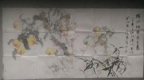 """己丑(2009)年中国北方画院院长王红莉、山水画院研究员陈溪峋""""竹、寿桃""""花鸟画"""
