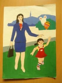 开封儿童彩色画:妈妈送我上学校