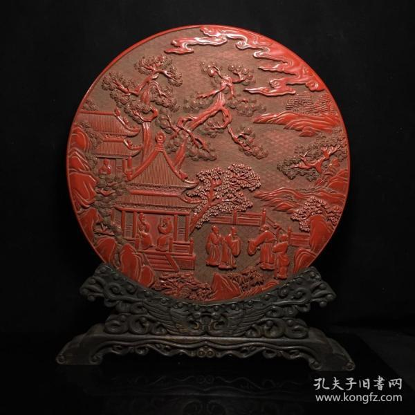 老漆器剔紅雕刻攜琴訪友圖屏風