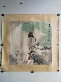 苏州著名 王锡麒 仕女斗方 原装旧裱 比较旧 尺寸68x68