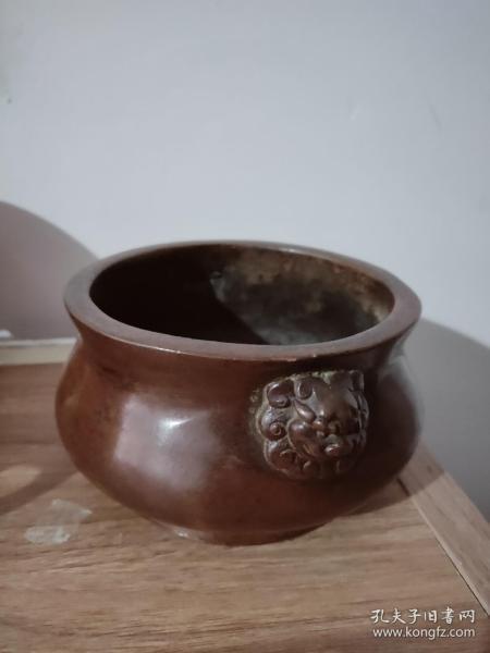 大明宣德铜狮子耳香炉,纯铜的,低价出--不后悔的选择.低价-!-