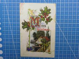 1910年欧洲(小桥流水人家)雕刻版、鎏闪粉、问候祝福、手写明信片(78)