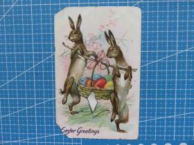 1910年左右欧洲(兔子挑蛋)雕刻版、鎏闪光粉、手写明信片(15)