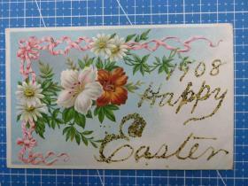 1908年欧洲(鲜花)雕刻版、鎏闪粉、新年祝福、手写明信片(54)