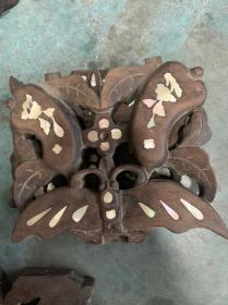 红木雕花 镶嵌贝壳3个,图案不同