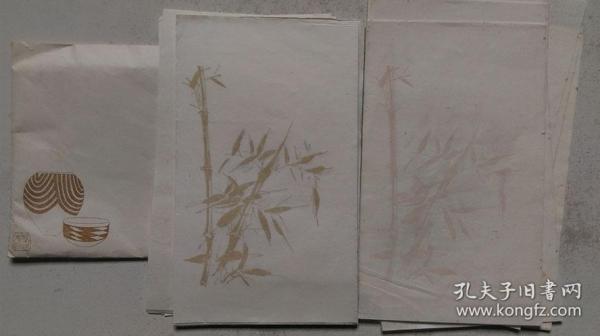 """上世纪六七十年代荣宝斋出品-木板水印""""梅、竹""""信笺纸(宣纸)38张"""
