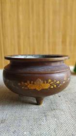 日本老铜刻画香炉