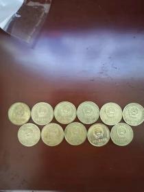 1991-2001年梅花5角硬币一套11枚(每年各1枚,不缺年份,齐全) 中国第三套流通硬币